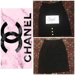 Classic Chanel blk lined knee length skirt sz 10
